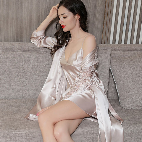 2020 Fashionable Real Silk Sleepwear Female
