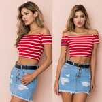 Off Shoulder Crop Tee Top