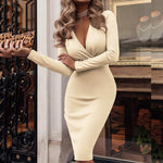 Women Sexy Dress Long Sleeve Deep V-neck