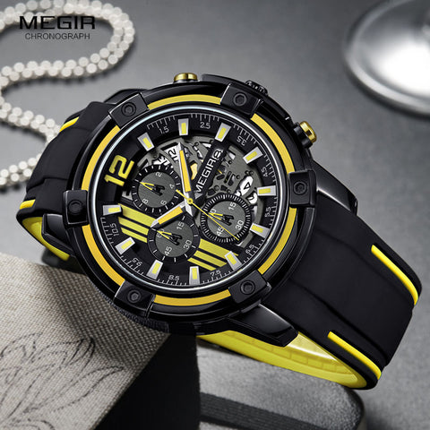 Megir Black Silicone Strap Quartz Waterproof Sport Watch