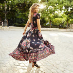 Women Summer V Neck   Maxi Floral   Dress