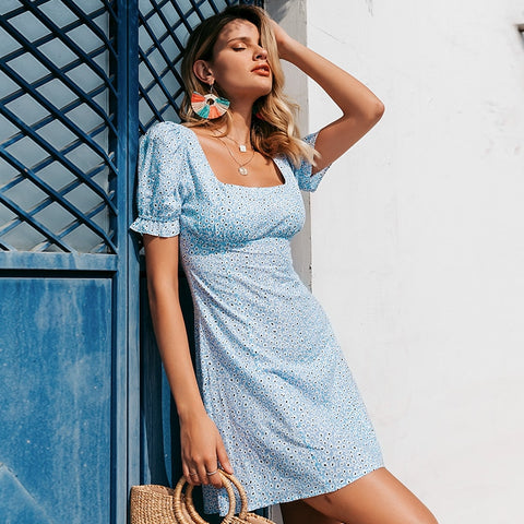Casual ruffles vintage summer dress