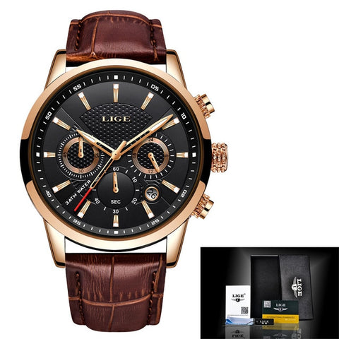 Luxury Leather Waterproof Watch - Relogio Masculino