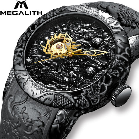 Gold Dragon Sculpture Automatic Watch For Men Waterproof