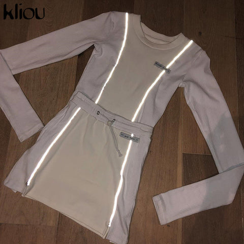 Kliou women fashion Reflective Striped patchwork two pieces set 2019 white full sleeve crop top bottom skirts outfit tracksuit