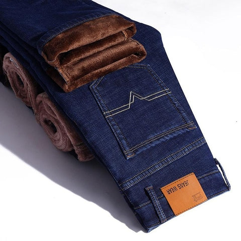 Winter Thermal Warm Flannel Stretch Jeans Mens