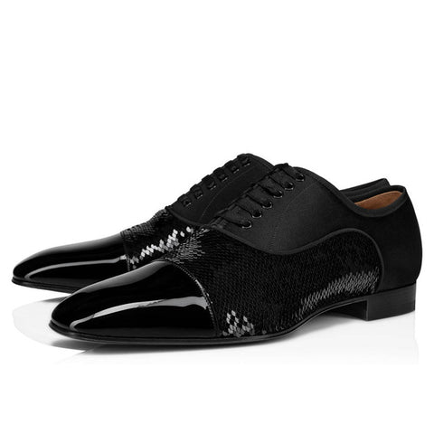 New Arrival Black Men Dress Shoes Pacthwork Casual Lace-up Wedding wearing Shoes Performance Handmade Male Footwear Shoes