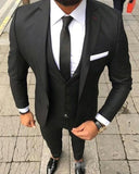 Men 3 Pieces Groomsmen Suit Formal Business Outfits Party (Jacket+Vest+Pant