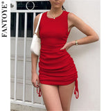 FANTOYE Cotton Ruched Drawstring Sexy Party Dress