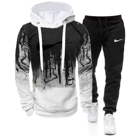 Men Hooded Sweatshirt 2 Pieces Sets Tracksuit