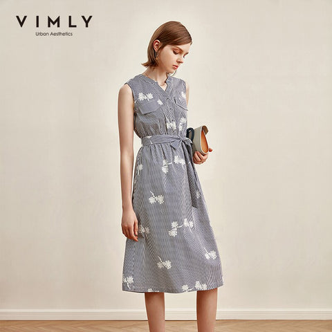 Vimly 2020 Summer Women Stripe Dresses Office Lady Elegant