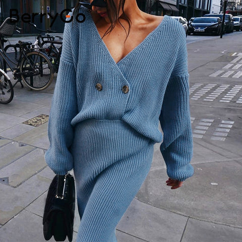 BerryGo Sexy v-neck women knitted skirt suits Autumn winter long sleeve