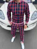 New Colorful Plaid Men Casual Zipper Set Autumn Tracksuit