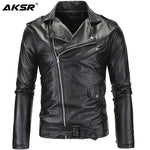 AKSR Men's Leather Jacket Stand Collar