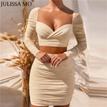 JULISSA MO Autumn Mesh Ruched Dress Women 2 Piece Set Long Sleeve
