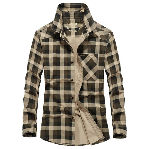 Army Style AFS JEEP Brand Plaid Shirt