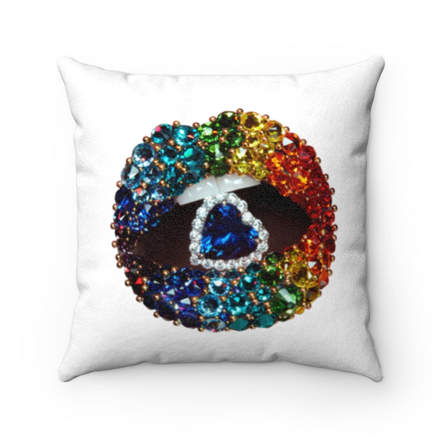 Beverly Hills Love is Love Two-Sided Faux Suede Square Pillow White