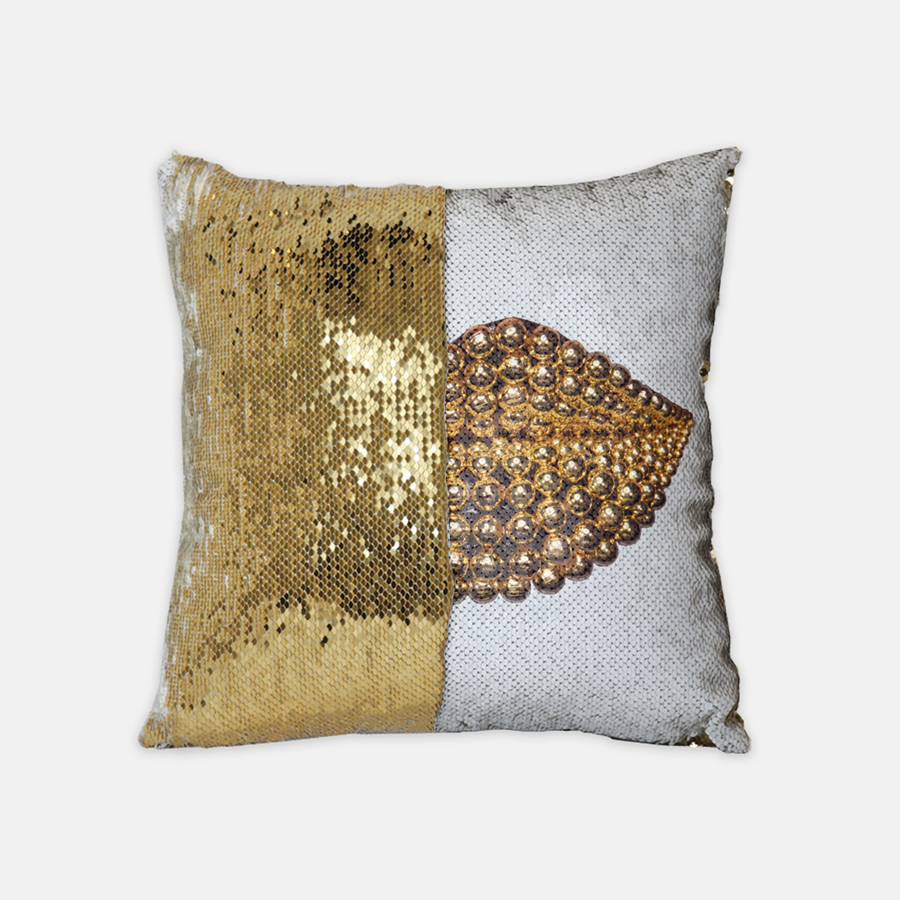 Beads Sequin Reversible Pillow White