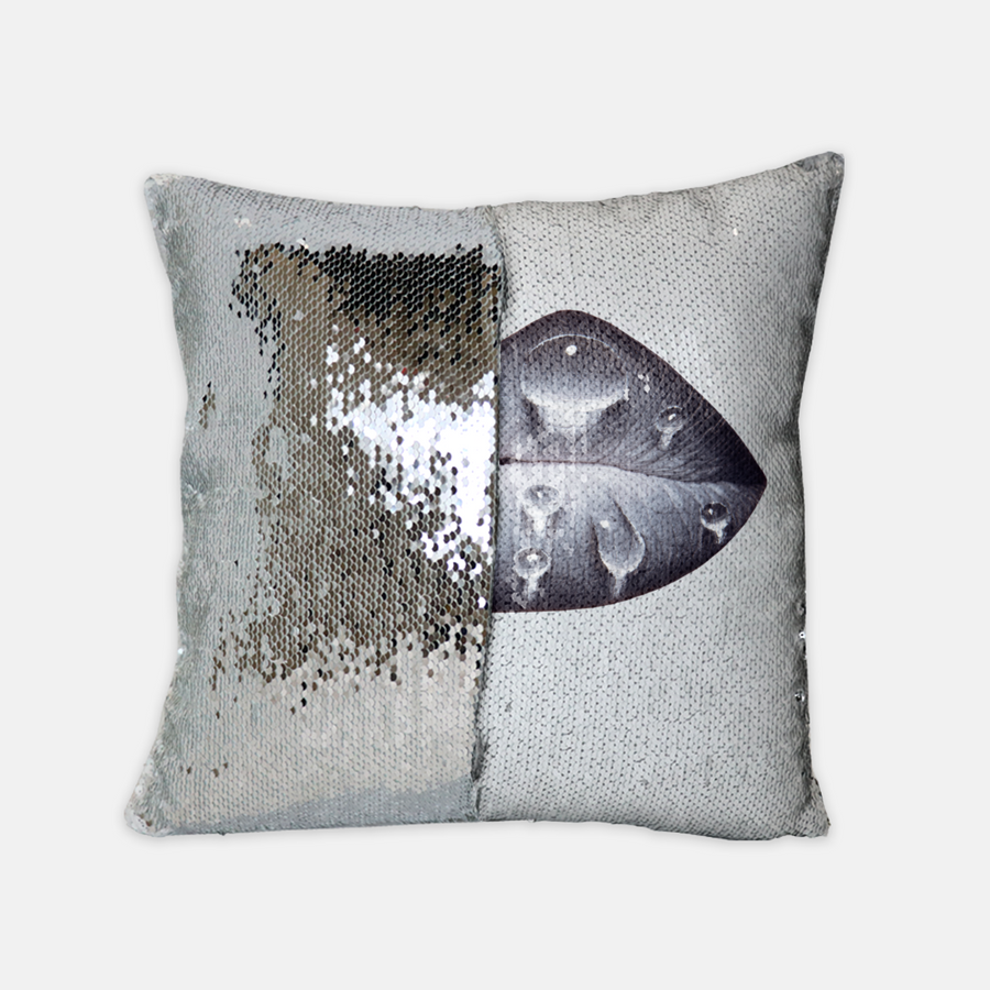 Rainy Day Sequin Reversible Pillow White