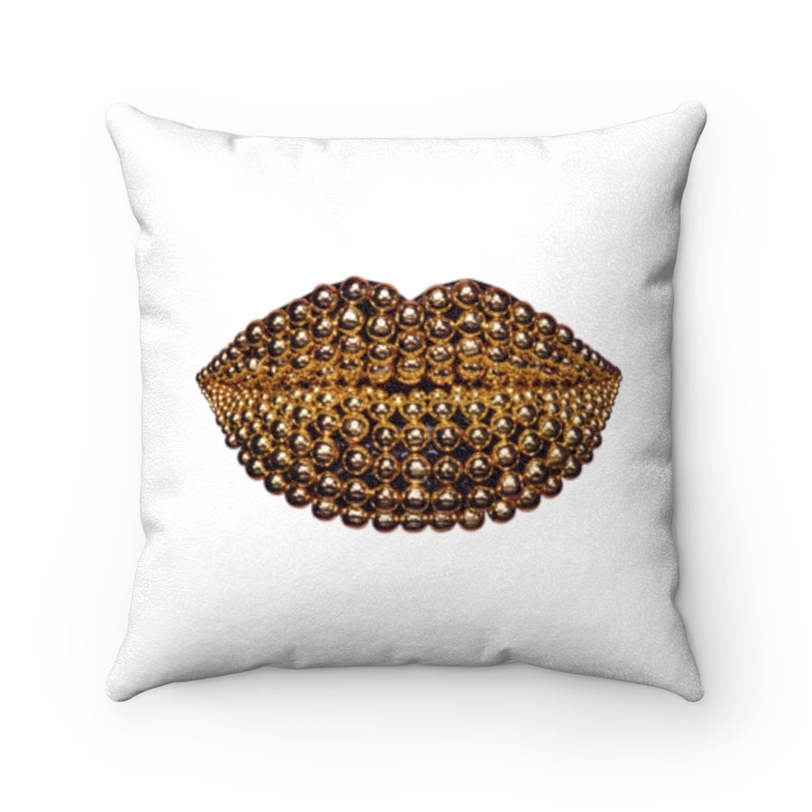Golden Honey Beads Two-Sided Faux Suede Square Pillow White
