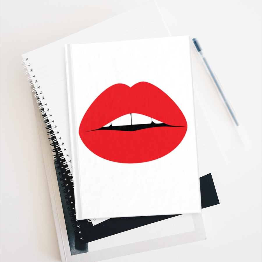 Pop Art Lips White Mini Journal - Ruled Line