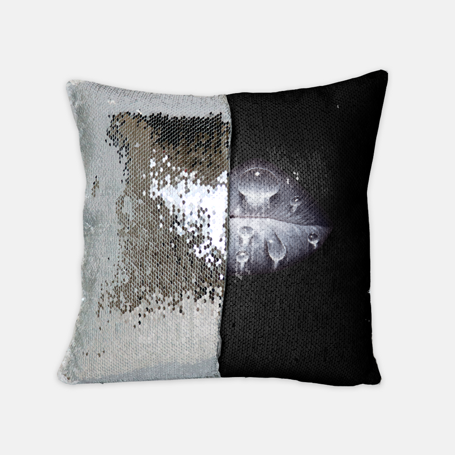 Rainy Day Sequin Reversible Pillow Black