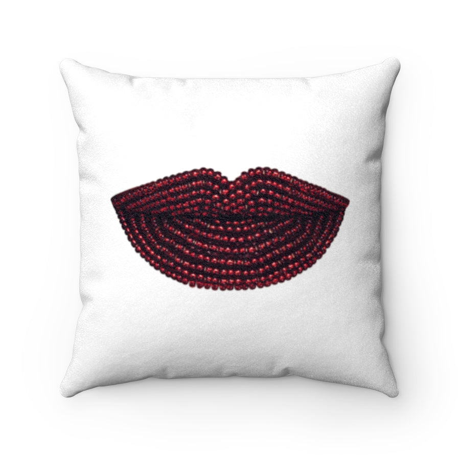 Pomegranate Beads Two-Sided Faux Suede Square Pillow White
