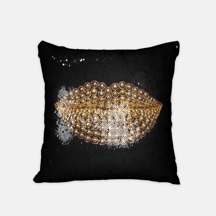 Beads Sequin Reversible Pillow Black