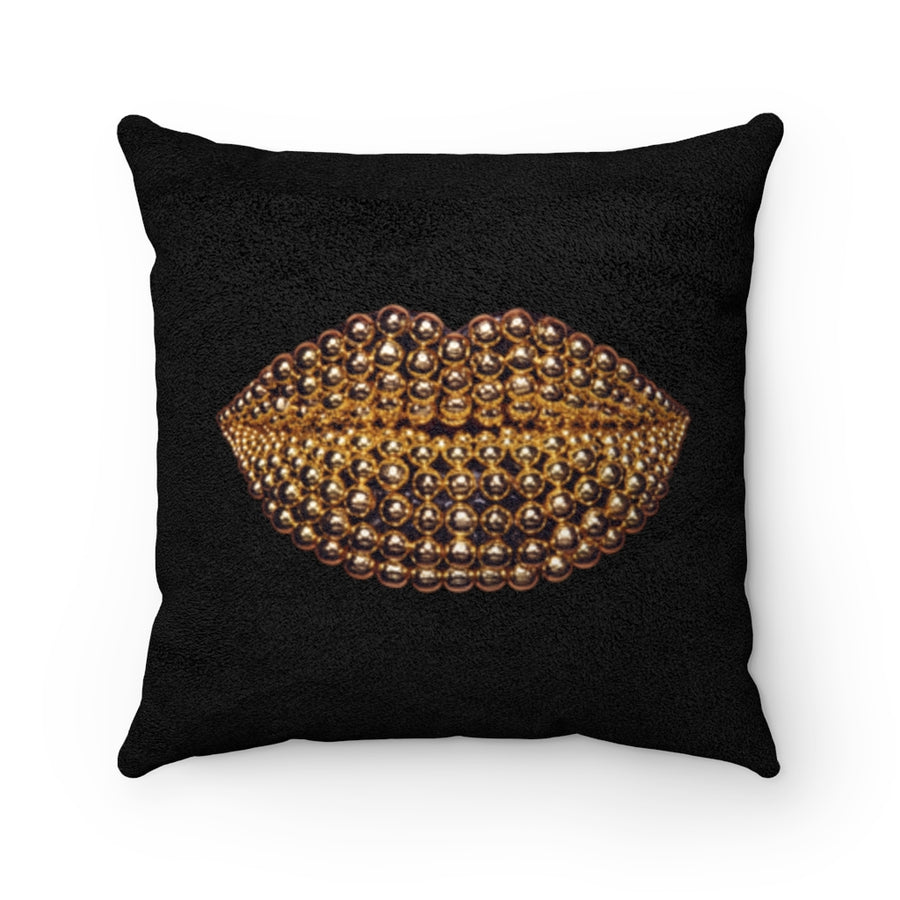 Golden Honey Beads Two-Sided Faux Suede Square Pillow Black