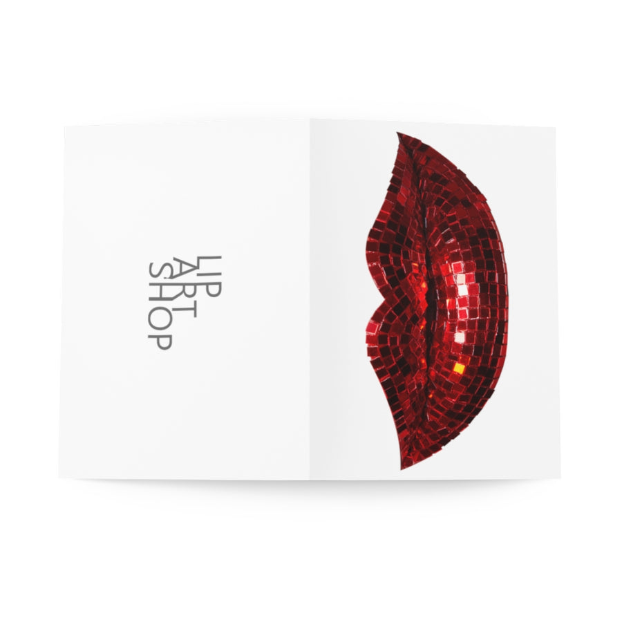 Disco Red Greeting Cards (8 pcs) - White