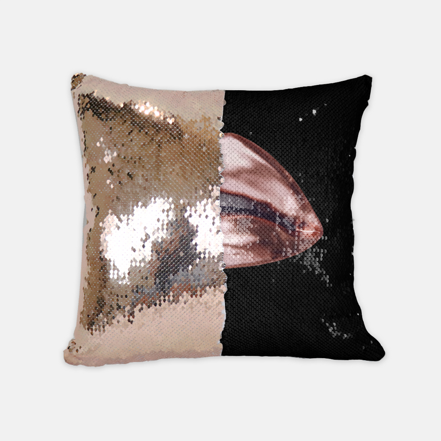 Rose Gold Sequin Reversible Pillow Black