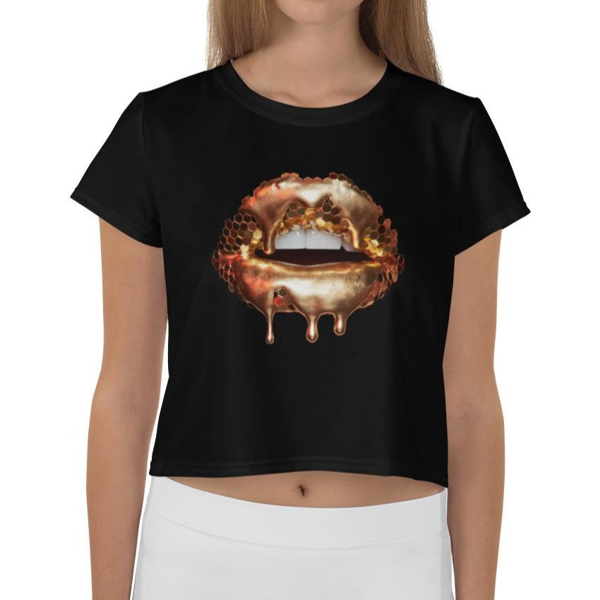 Golden Honey Black Crop Tee