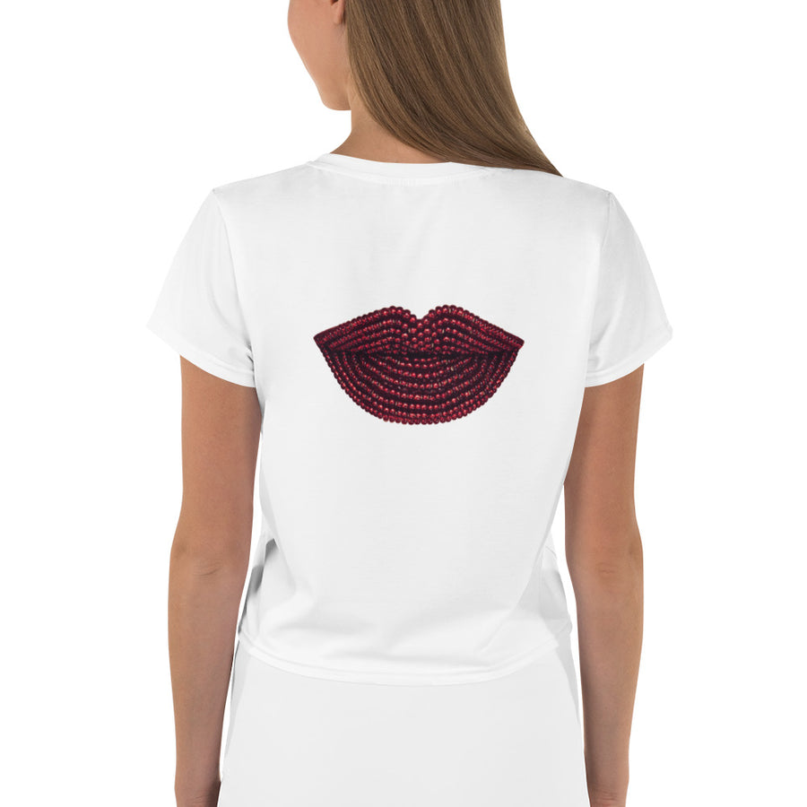 Pomegranate White Crop Tee