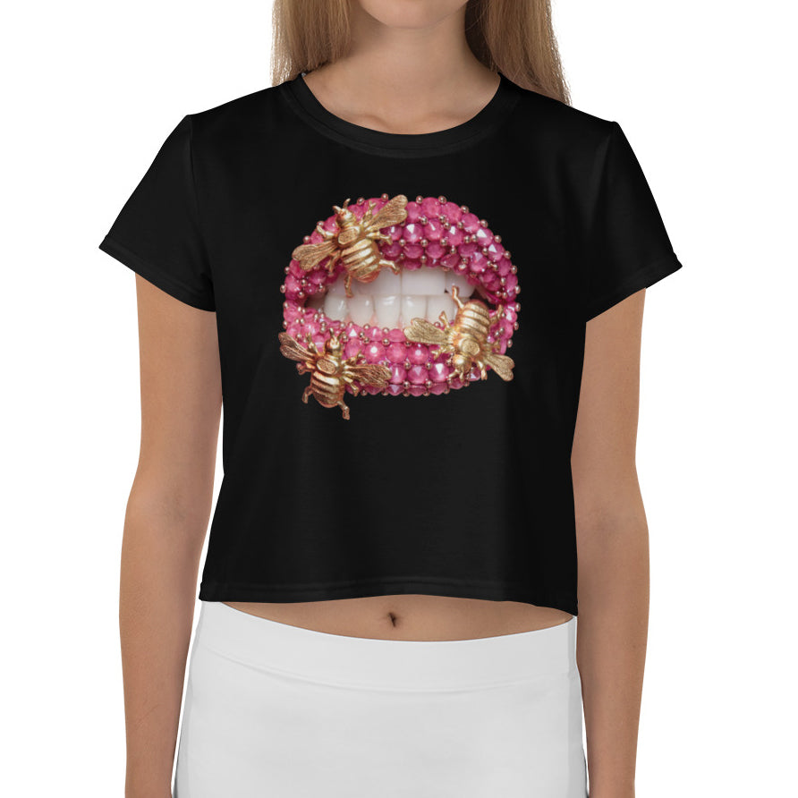 Bumble Bees Black Crop Tee