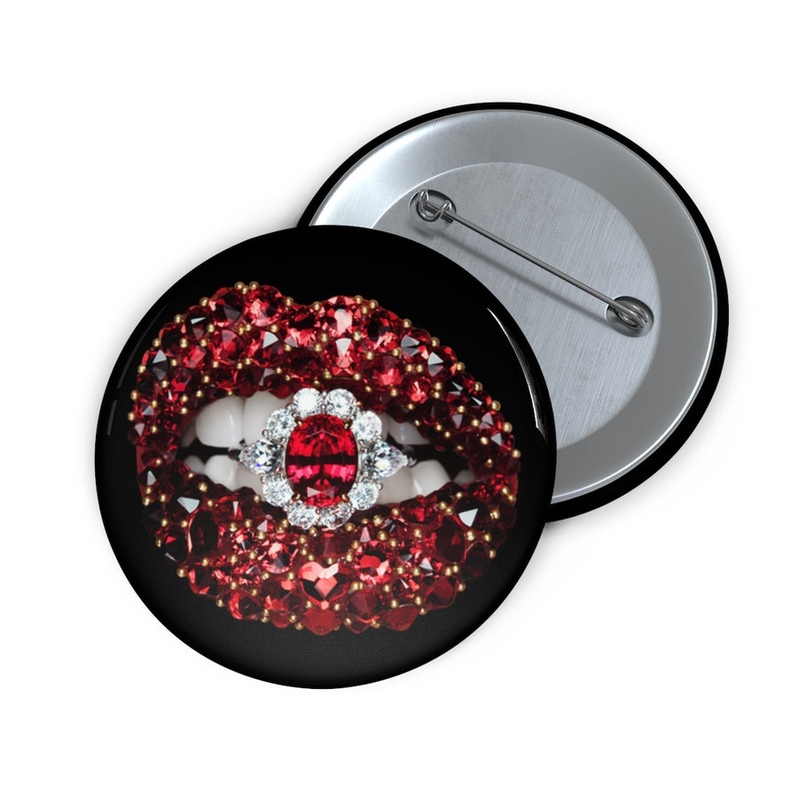 Ruby Black Pin Button