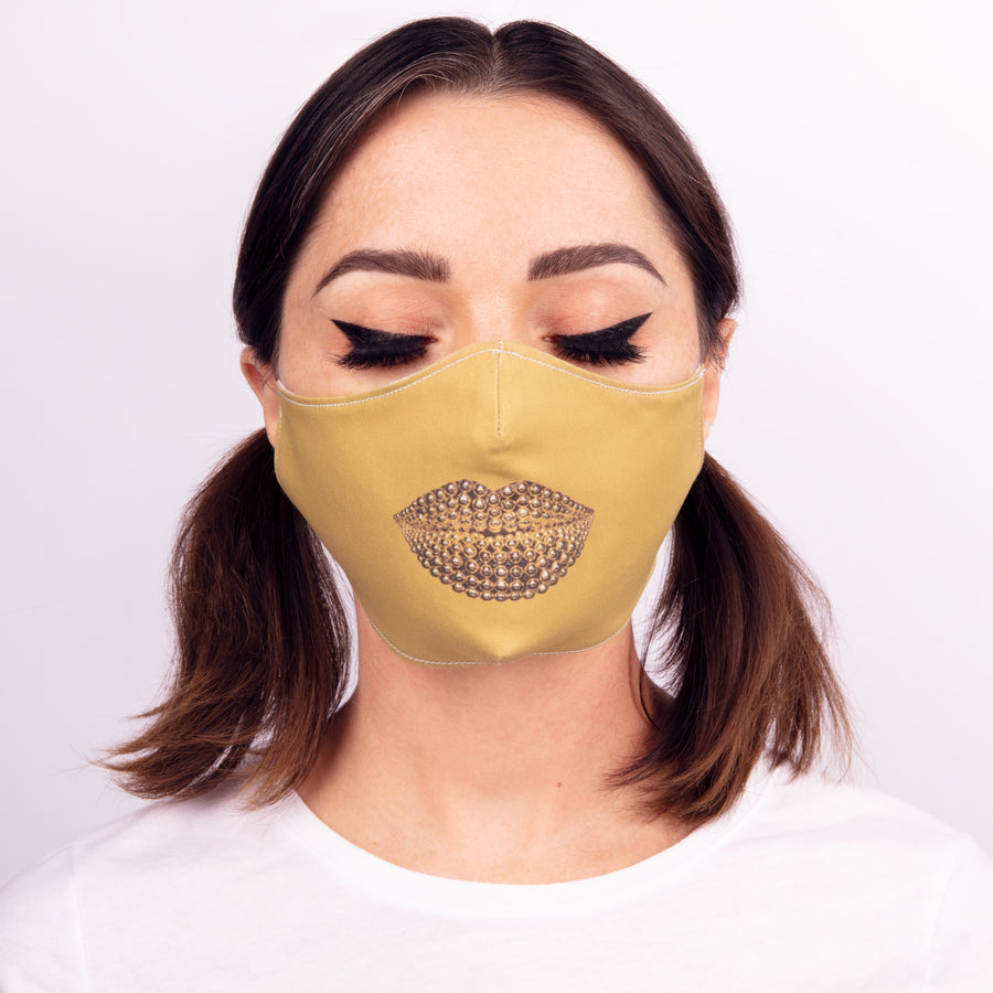 Beads Face Mask Mustard