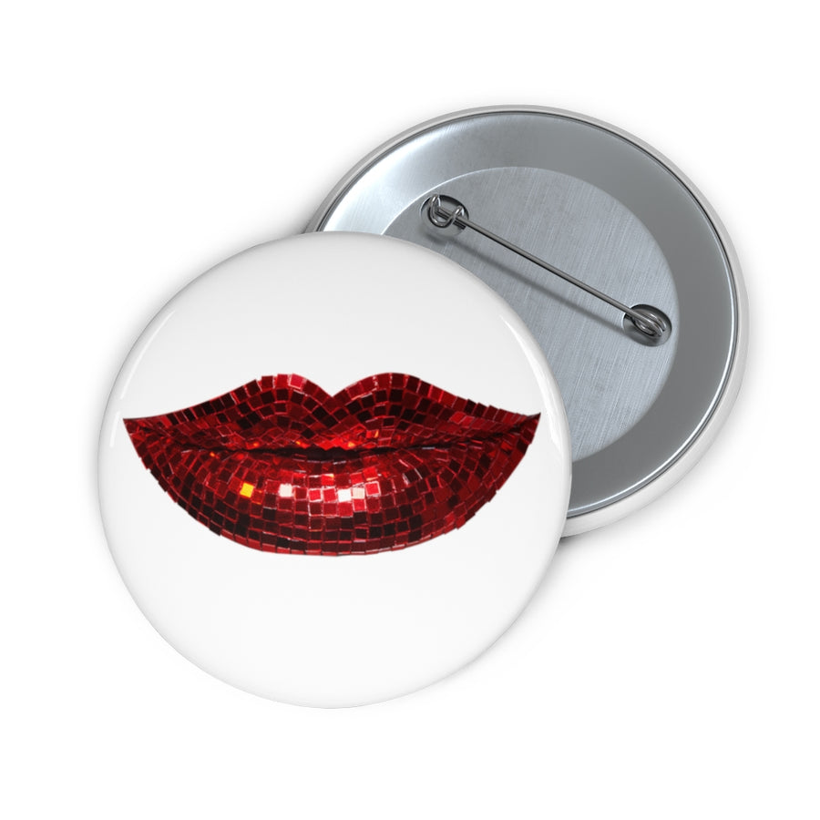 Disco Red White Pin Button