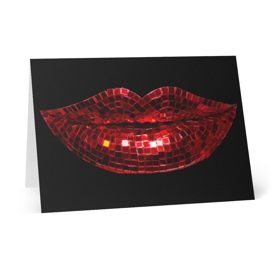 Disco Red Greeting Cards (8 pcs) - Black