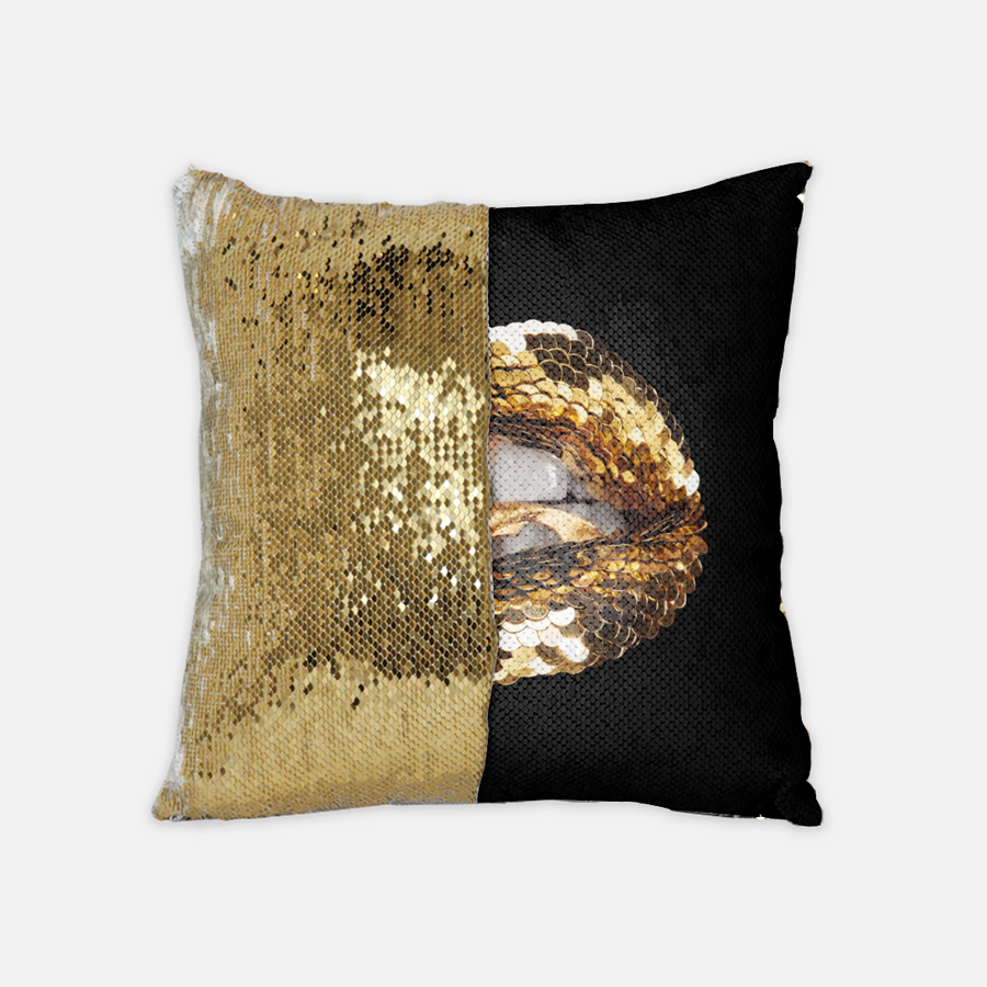 Catch of the Day Sequin Reversible Pillow Black