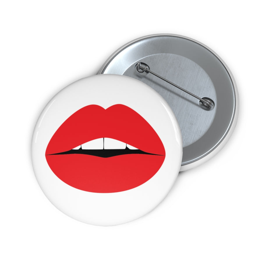 Pop Art Lips White Pin Button
