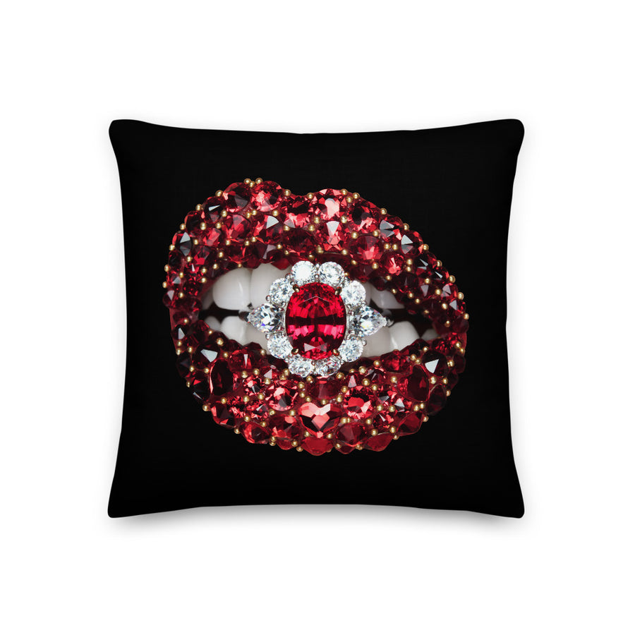 Ruby Envy Faux Linen Two-Sided Black Pillow