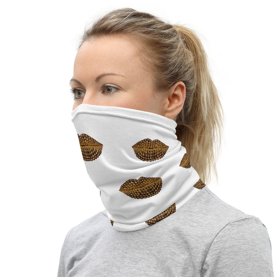 Beads Pattern Face And Neck Cover White