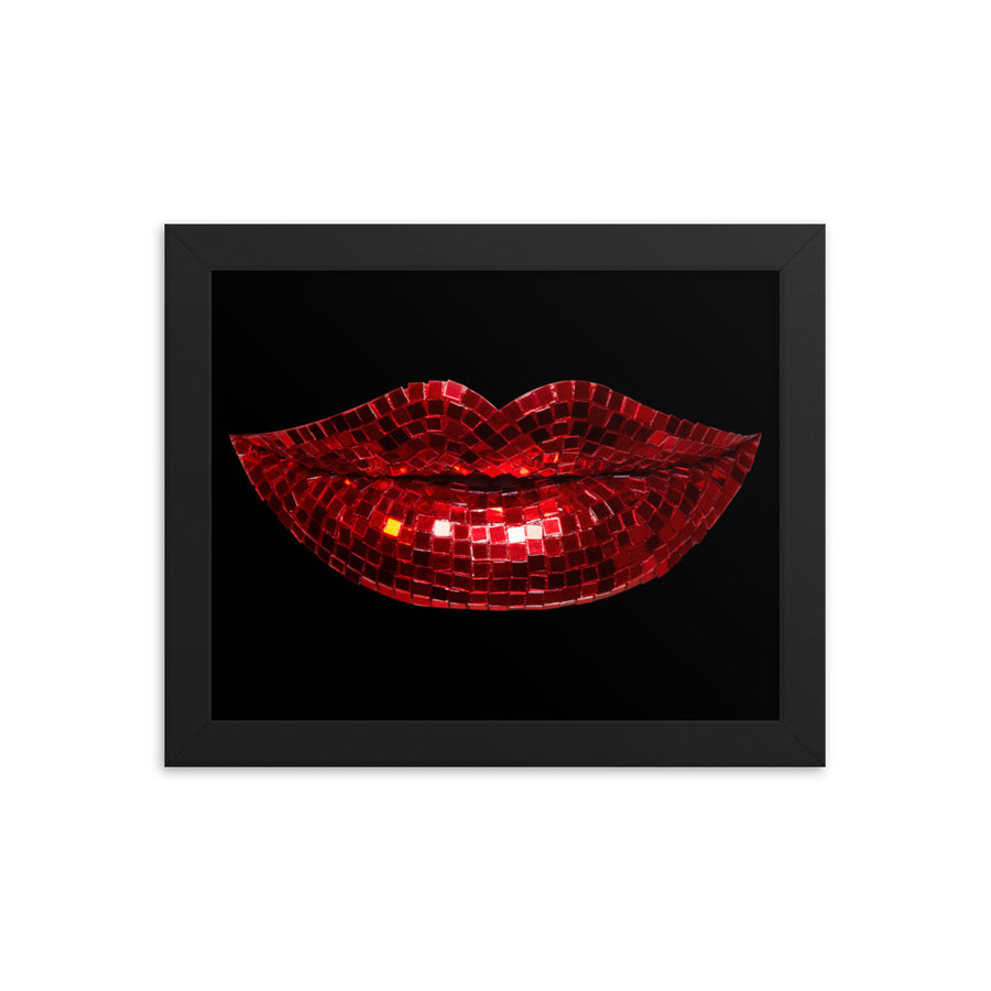 Disco Red Framed Print Black
