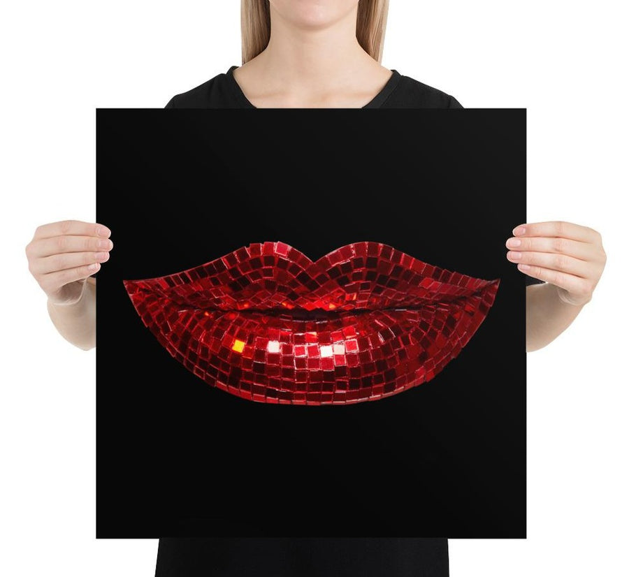 Disco Red Poster Black