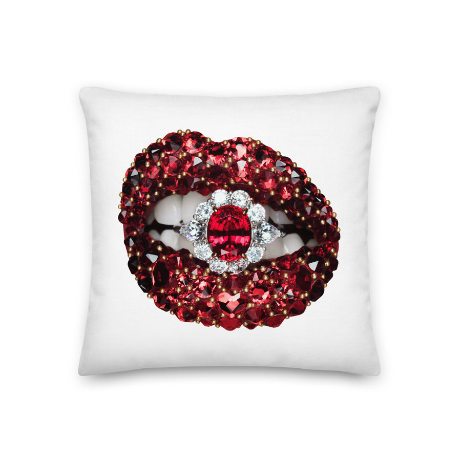 Ruby Envy Faux Linen Two-Sided White Pillow
