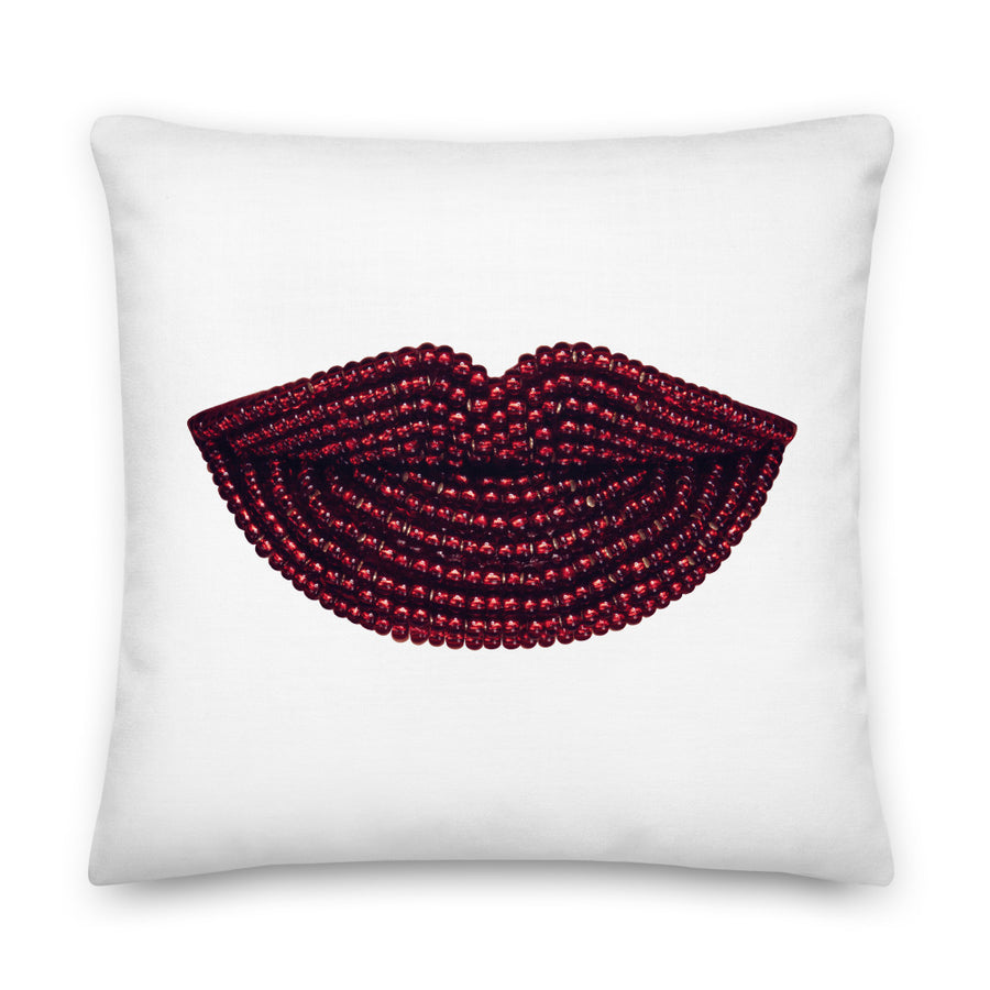 Rainy Day Pomegranate Faux Linen Two-Sided White Pillow
