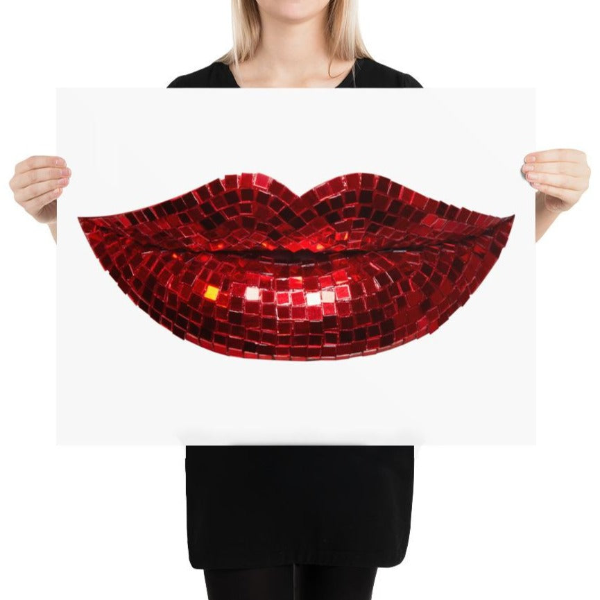 Disco Red Poster White