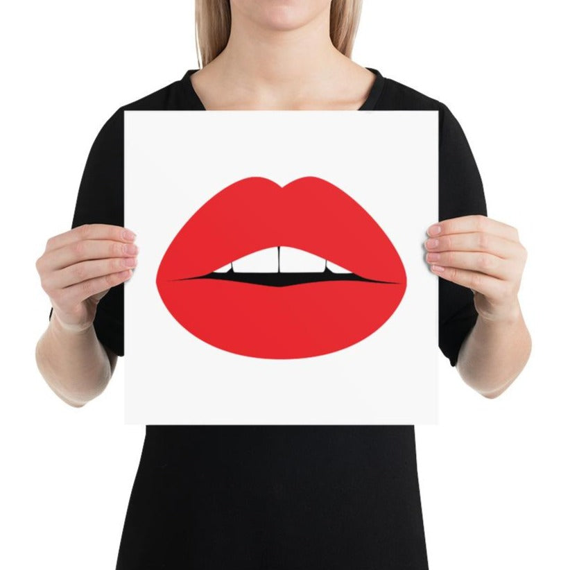 Pop Art Lips Poster White