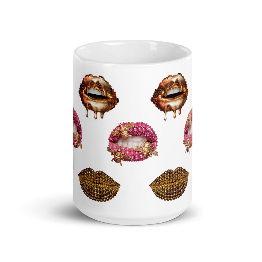 Golden Bumble Beads White Mug