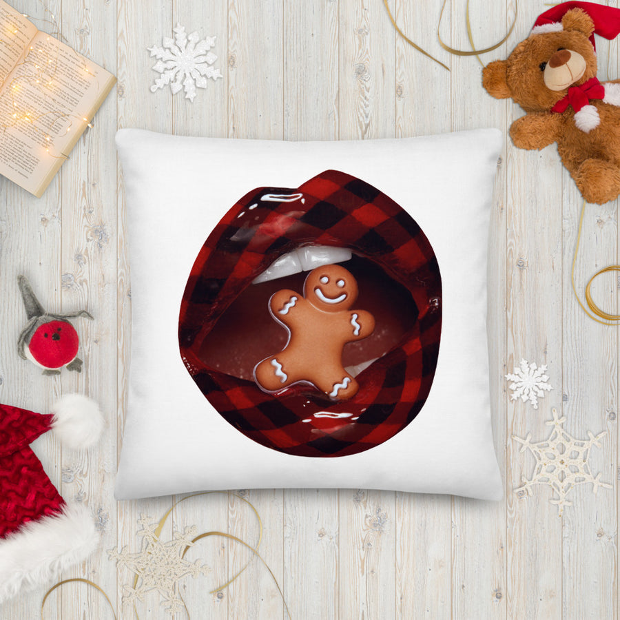 Dear Santa + Gingerbread Person Two-Sided White Pillow